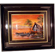 Gorgeous Sunset Painting Enamel on Copper Limoges Artist Signed