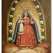 19th Century Folk Art Painting Virgin Mary