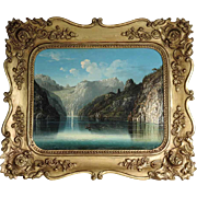 19th Century Idyllic Mountain Lake Landscape
