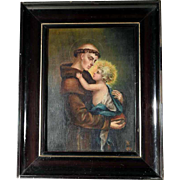 Touching Old Painting Saint Anthony of Padua and Infant Jesus
