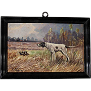 Lovely Miniature Painting Chase Dog Oil on Board