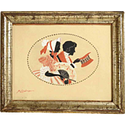 19th Century Painted Silhouettes of a Gallant Couple
