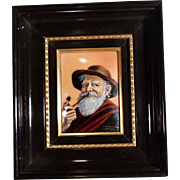 Wall Plaque Enamel Painting on Copper  Fisherman  by Carmona