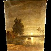 Impressive Landscape Full Moon ca. 1880