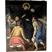Late Baroque Religious Painting Saint Thomas Curing Invalids