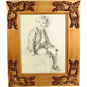 Amazing Drawing Young Boy Sitting