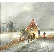 Winter Amusement Ice Skating Lovely Oil Painting on Wooden Panel