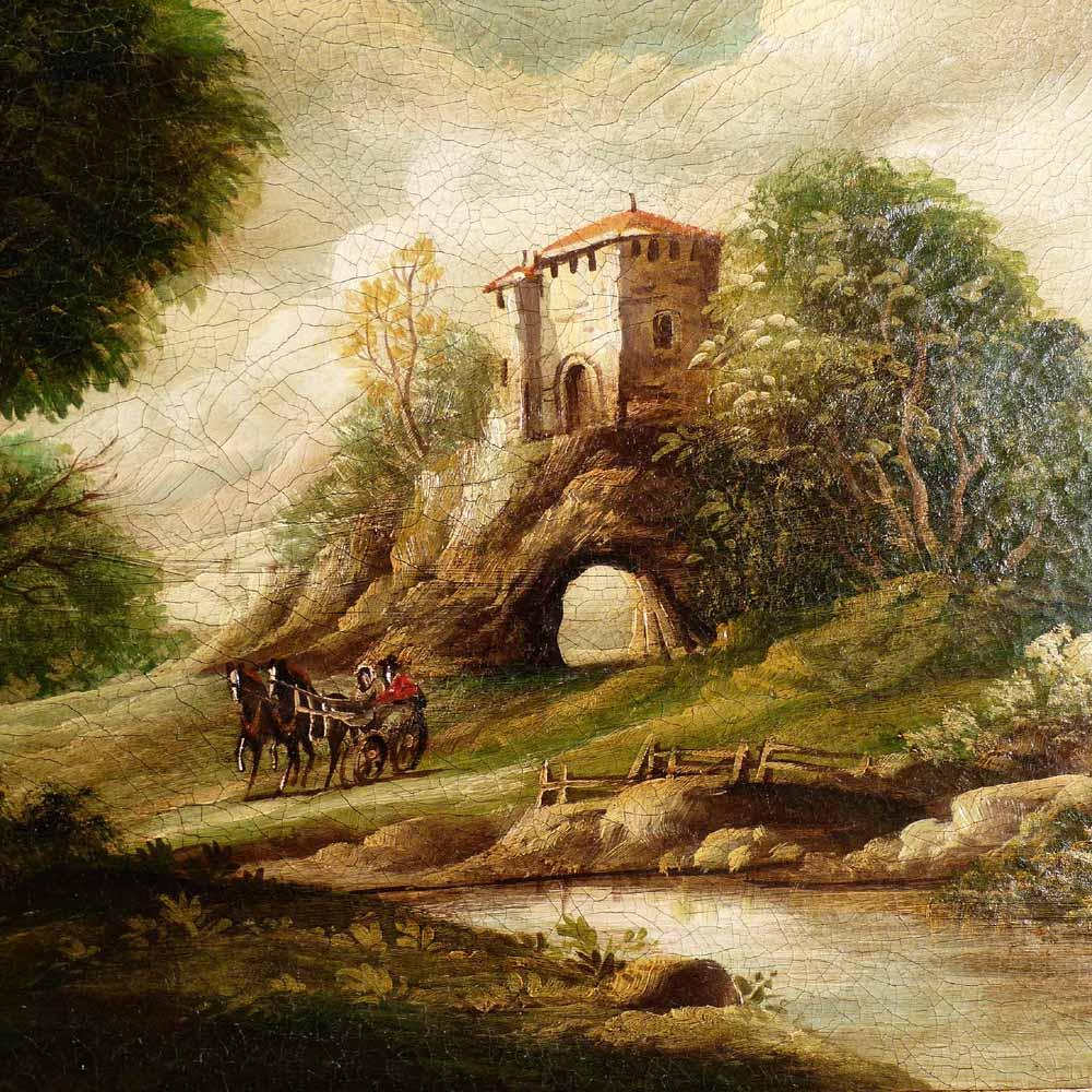 Italian Romantic Oil Painting Landscape Early 19th Century