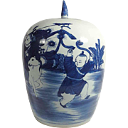 Large 19th Century Chinese Lidded Blue & White Jar