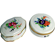 Two German China Pill or Trinket Boxes Rosenthal Hand Painted
