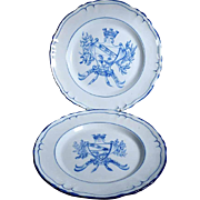 French Faience  Plate  and Tray St. Clement Armorial Bearing of the Town Nancy