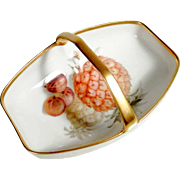 Lovely Hand Painted Porcelain Cookies or Candies Basket German Manufactory Thomas
