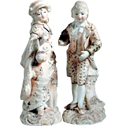 Pair of Bisque Porcelain Figurines Germany Volkstedt-Rudolstadt 19th Century