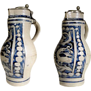 Stunning German Stoneware Flagon Handmade about 1850
