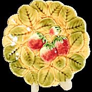 Majolica Plate Strawberries Sarreguemines France