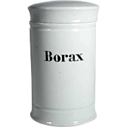 Old Porcelain Apothecary Jar with Lid BORAX