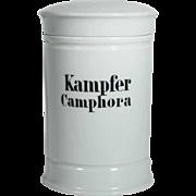Old Porcelain Apothecary Jar CAMPHOR