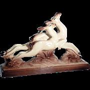 Elegant Art Deco Antelope Group Blackbuck Signed Lemanceau ca. 1935