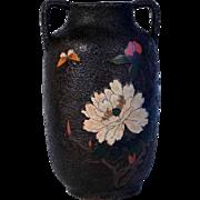 Delicate Japanese Tree Bark Cloisonne Vase signed ca. 1900