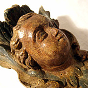18th Century Exquisite Putty Head Angel Folk Art