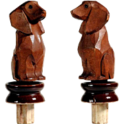Darling Bottle Stopper Hand Carved Dachshund Black Forest