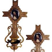 Old Wall Cross Holy Water Font and Porcelain Picture Jesus