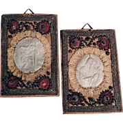 Pair of Devotional Images Pilgrimage Souvenir Saint Christopher and Saint Francis
