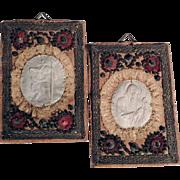 Pair of Devotional Images Pilgrimage Souvenir Saint Christopher and Saint Francis