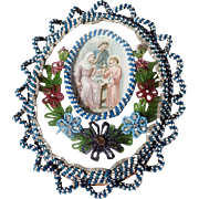 Rare Reliquary Holy Family at the Workplace of Joseph Glass Beads