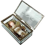Monastery Work Fatschenkind Baby Jesus Wax Sculpture in Crystal Box