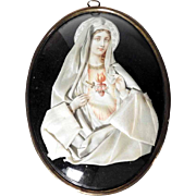 19th Century Reliquary Virgin Mary   Devotional Object