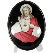 19th Century Reliquary Jesus Sacred Heart  Devotional Object