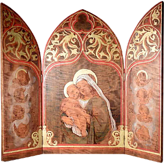 Enchanting Hand Painted Triptych Virgin Mary Jesus Baby and Angels