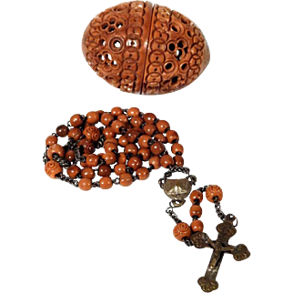 Old Rosary Carved Box Tree Beads OPen Work Coquille Nut Egg Holder