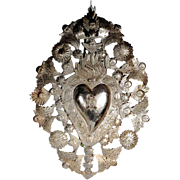 Gorgeous 19th Century Reliquary Ex-Voto Most Sacred Heart of Jesus