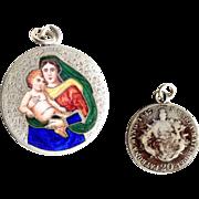 Religious Medal Pendant Enamel Mary Holding Baby Jesus