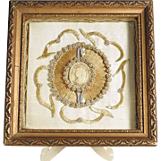 Lovely Convent Work Wax Medallion Depicting  Virgin Mary Show Case