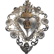 19th Century Reliquary Sacred Heart of Mary Crown and Putty Ex-Voto