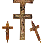 Early 19th Century Rare Miniature Relic Cross Paperolles Arma Christi