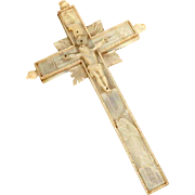 19C Hand Carved and Engraved Mother of Pearl Reliquary Cross Crucifix