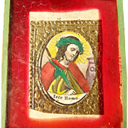 Monastery Work w. Colored Ecce Homo Medallion ca. 1850
