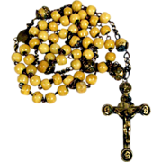 19th Century French Missionary Rosary Bone Beads Unusual Cross Three Apostles
