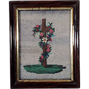 19th Century Fine Religious Beadwork Cross and Roses