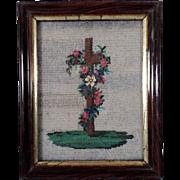 19th Century Fine Religious Beadwork Cross and Roses