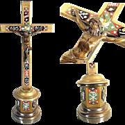 Crucifix Micro Mosaic Arma Christi and Dove Grand Tour Souvenir ca. 1880