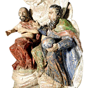 18th Century Trinity God Father and Jesus Folk Art Carving