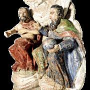 18th Century Trinity God Father and Jesus Folk Art Carving