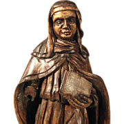 Religious Carving  Bridget of Sweden Nun with Book ca. 1850