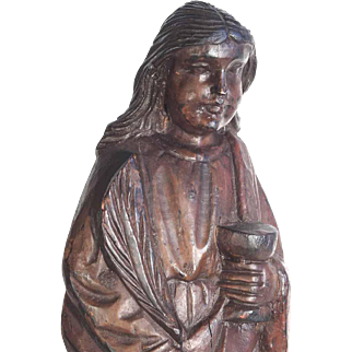 Hand Carved Wooden Statue  Saint Barbara Martyr ca. 1830/50