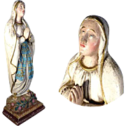 Hand Carved German Virgin Our Lady of Rosary ca.  1870 – Folk Art Carving